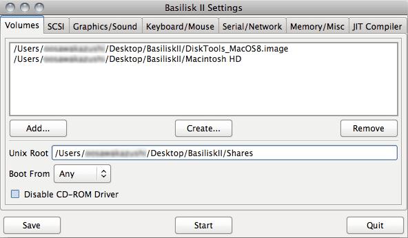 BasiliskII設定画面